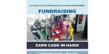 PROFESSIONAL HAPPY / FUN CHARITY CASH COLLECTORS NEEDED...CASH IN HAND .. BUCKET FUND-RAISING